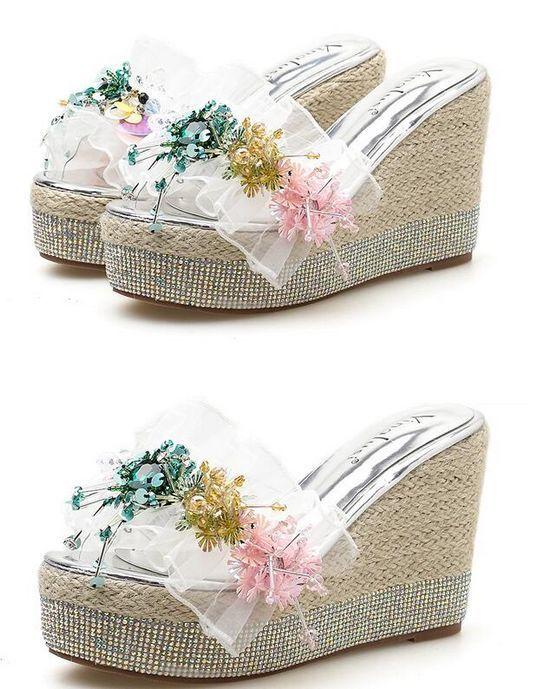Último gran descuento Sandalias zapatillas mujer zuecos plata colorido cuña 10.5 cm mar cómodo 1180