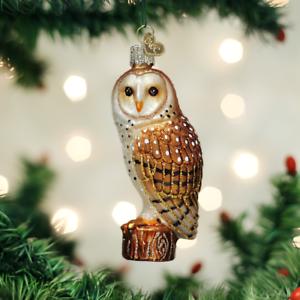 Old-World-Christmas-BARN-OWL-16118-N-Glass-Ornament-w-OWC-Box
