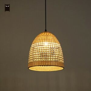 Details About Bamboo Basket Pendant Light Fixture Vintage Hanging Ceiling Lamp For Dining Room
