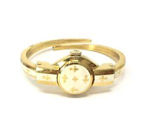 Vintage-Bucherer-Gold-Plated-Watch-Enamel-Fleur-De-Lis-Wind-Up-Bracelet-Watch