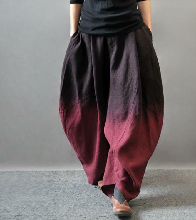 Ethnic Women Casual Linen Blend Wide Leg Loose Bloomers Pants Trousers Baggy