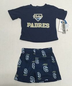 buy popular 47219 4dd02 Details about MLB San Diego Padres Merchandise Infant Creeper and Shorts 2  Piece Set
