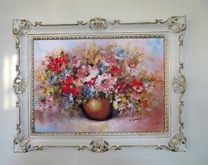 Quadro con cornice fiori immagine 90X70 SELVAGGIA vaso oro telaio 98 ...