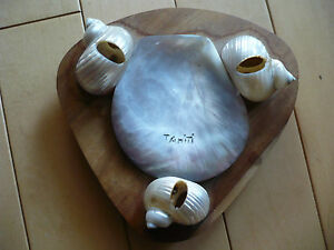 SEASHELL SHELL TRAY ABALONE TAHITI VINTAGE CRAFTS ISLAND FOLK ART ASHTRAY OLD