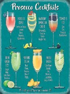 Prosecco-Cocktails-Copa-De-Vino-Bebidas-Pub-Tiki-Bar-Cocina-Medio-Metal