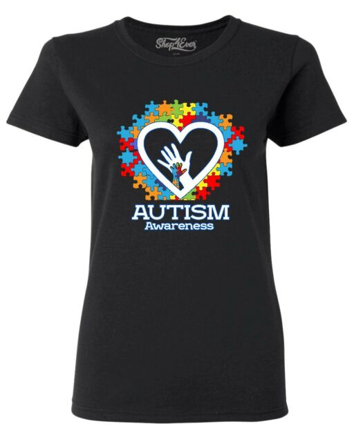 Autism Awareness Heart Hand Puzzle Women's T-Shirt Support Love Kind Shirts