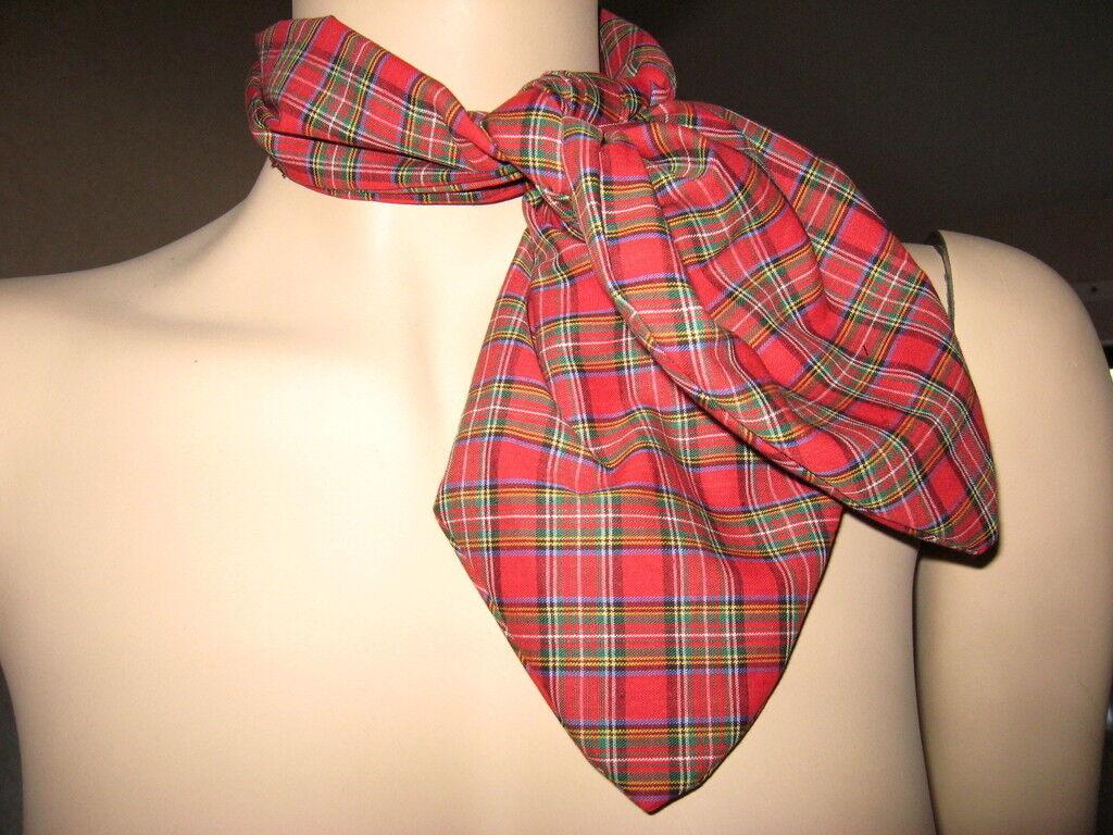 tartan Head Tie Scarf Red Black White Neck Party Fancy dress Burns Christmas
