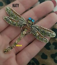 Large Dragonfly Crystal Broach Vintage Style Insect Diamante Green BROOCH Pin UK