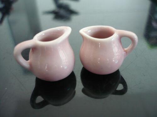 2 x Mini Pink Round  Pitcher Dollhouse Miniatures Food Deco Kitchenware