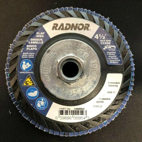 "11/"" 40 Grit Type 27 Flap Disc RADNOR 64000954 4 1//2/"" X 5//8/"""