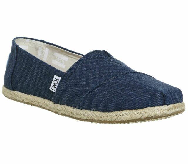 ae2cf061b0f Womens Toms Seasonal Classic Slip on Washed Navy Canvas Rope Sole ...