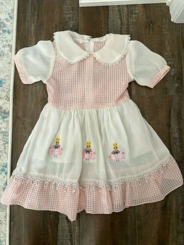 Vintage Pink Gingham Baby Toddler Dress