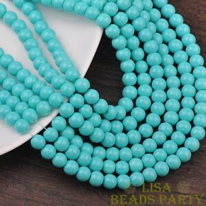New-30pcs-8mm-Round-Glass-Loose-Spacer-Beads-Jewelry-Findings-Light-Lake-Blue