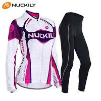 Women's Girls Cycling Clothing Long Sleeve Bike Jersey&trouser Gel Pad Sets S-xl