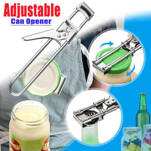Adjustable Can Opener Jar Lid Bottle Remover Tool Stainless Steel Twist Off Grip