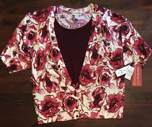 19ecac1ccaa NWT NEW Cathy Daniels 2pc look floral top sz 2X pink red maroon knit ...