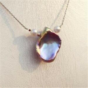 Pearl 15-18mm Purple Baroque Petal Pearl Pendant 18inch Necklace Flawless women charm