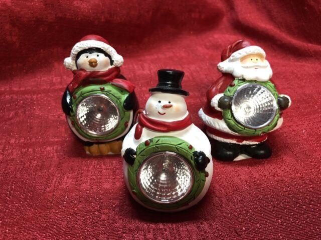 Set Of 3 Christmas Solar Light Up Led Outdoor Yard Decor Santa Penguin Snowman