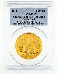 2013 China 1 Oz. Gold Panda 500 Yuan Graded by PCGS as MS69