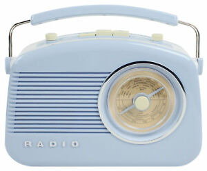 Vintage Retro FM AM Portable Radio 1950's Design In Baby Blue High Quality Sound