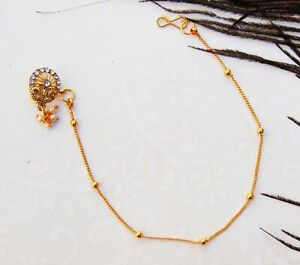 Indian Ethnic Nathni Golden Nose Ring Fake Clip Designer Women