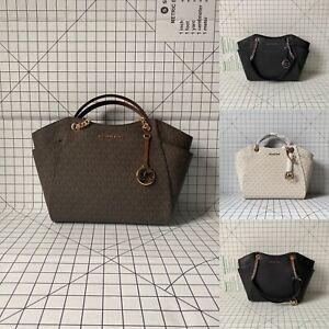 NWT Michael Kors Jet Set Travel Chain Shoulder Bag Signature PVC Leather Tote