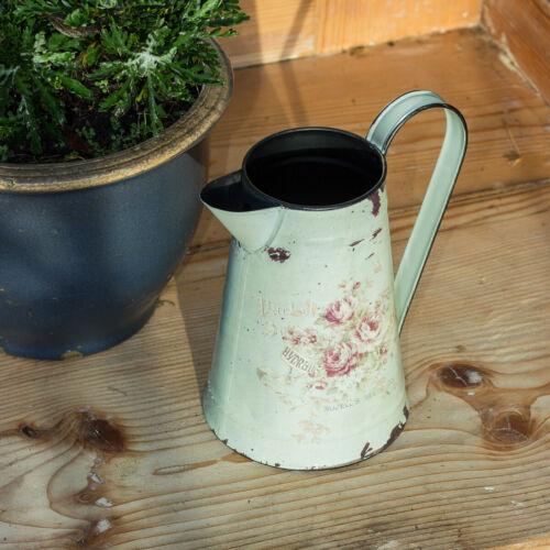 Kanne mit Rosenmotiv Vintage Blechkanne Karaffe im Landhausstil Gießkanne