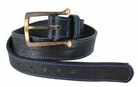 Vintage Casual Jean Hippie 60's ,70' Style Bull Hide Leather Belt Made In Usa