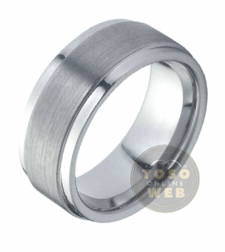 Details about  /Men/'s 9mm Pipe-Cut Stepped Edge Polish Tungsten Ring w// Brushed Center TS0050