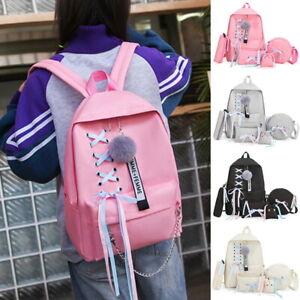 4pcs-Set-Women-Backpack-Canvas-Lace-Travel-Rucksack-Bookbag-School-Shoulder-Bags