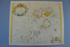 VINTAGE Decorativa Marine Grafico Foglio di MAPPA delle Isole di Scilly 1689