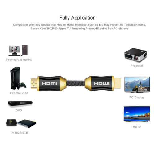 HDMI 2.0 26AWG,CL3 In Wall 4K 3D 2160p @60hz 2-Pack HDMI Cable 25Feet