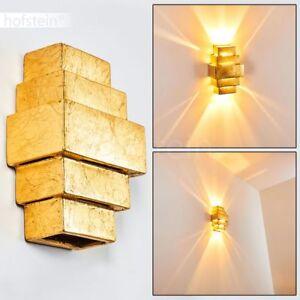 goldfarbene Wand Leuchte Wohn Schlaf Raum Beleuchtung Keramik Flur Dielen Lampe