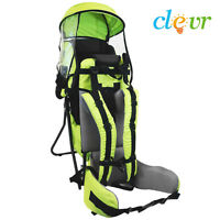 Clevr Baby Backpack Cross Country Carrier Green W/ Stand Child Kid Toddler