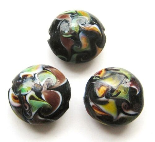 Lampwork Glasperlen Buttons 18mm schwarz 10 Stück SERAJOSY