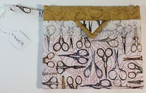 Quilted-Snap-Bag-Pink-Fabric-W-Antique-Scissors-7-5-034-x-6-5-034-Sewing-Theme