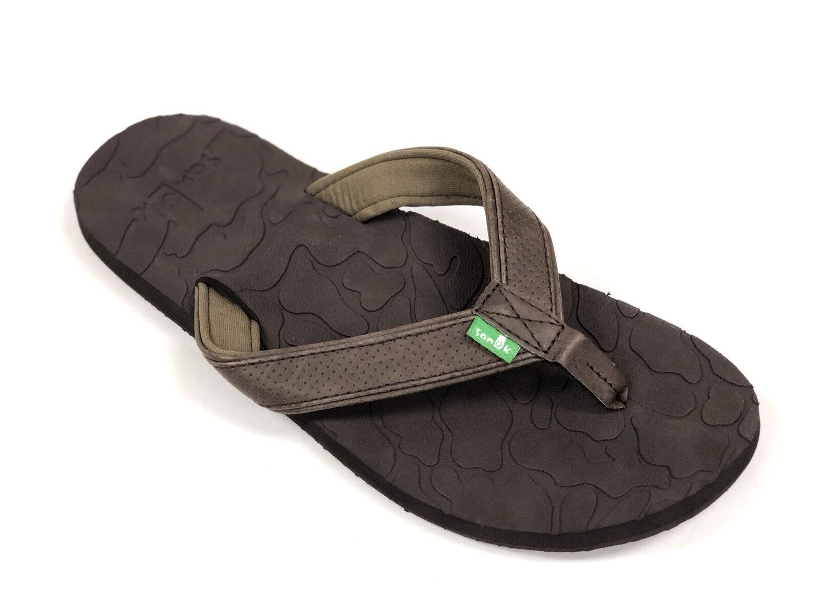 Sanuk Men's HIGH TIDE Brown Leather Strap SMS10644 Casual Flip Flop Sandals NEW