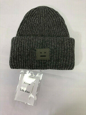 Acne Studios Women Oversized Pansy L Face Beanie NWT Gray