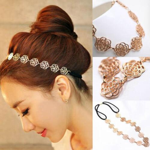 Fashion Women Metal Chain Black Elastic Hollow Rose Flower Hair Band Headband