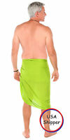 1 World Sarong Mens Fringeless Solid Sarong In Lime Green