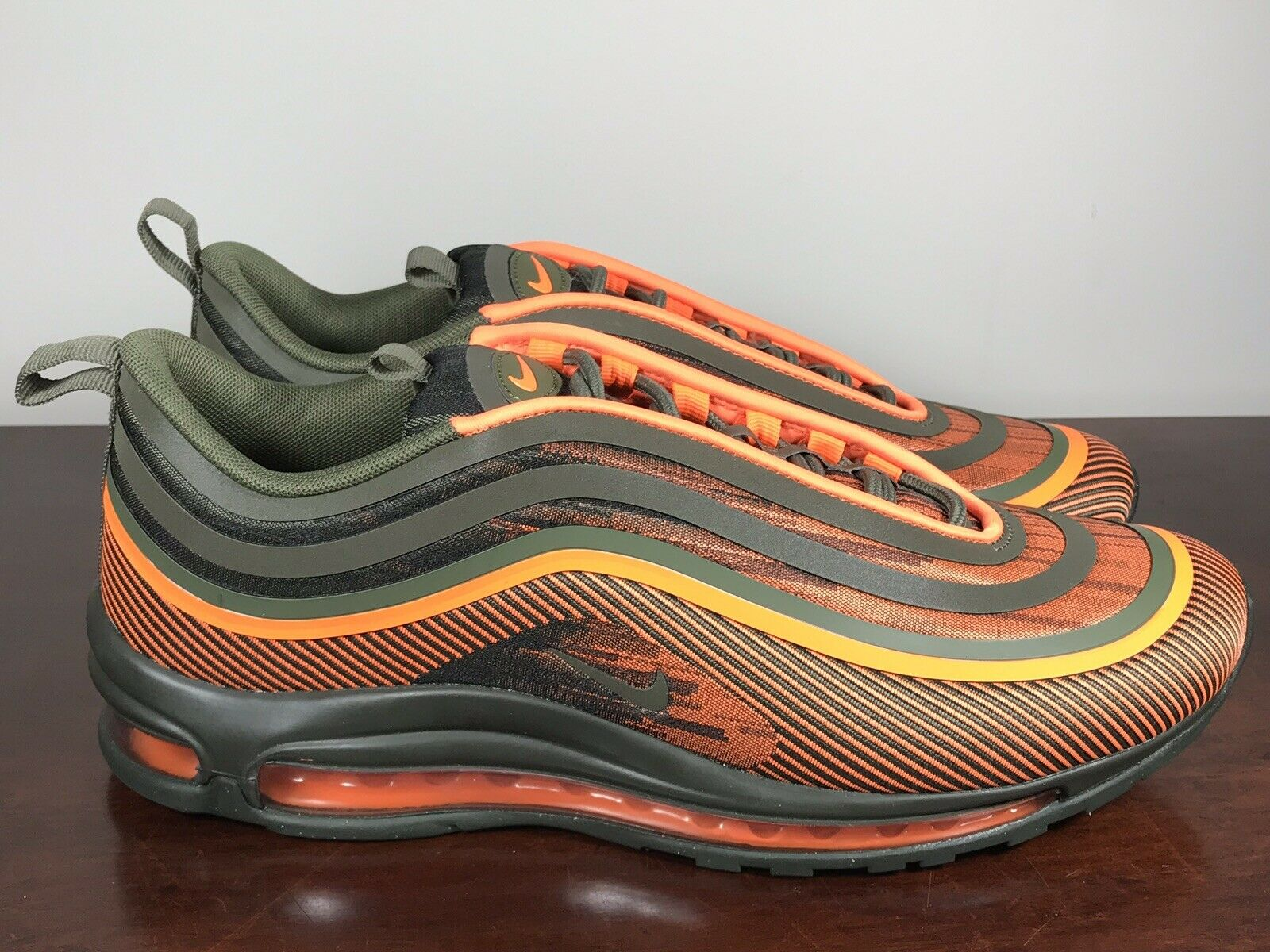 Mens Nike Air Max 97 Ultra '17 Total orange Olive Running shoes 918356-801 Sz 10
