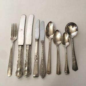 Menge-9-verschiedene-Vintage-Silverplate-Bestecke-USA-Loeffel-Suppe-Gabel-Messer