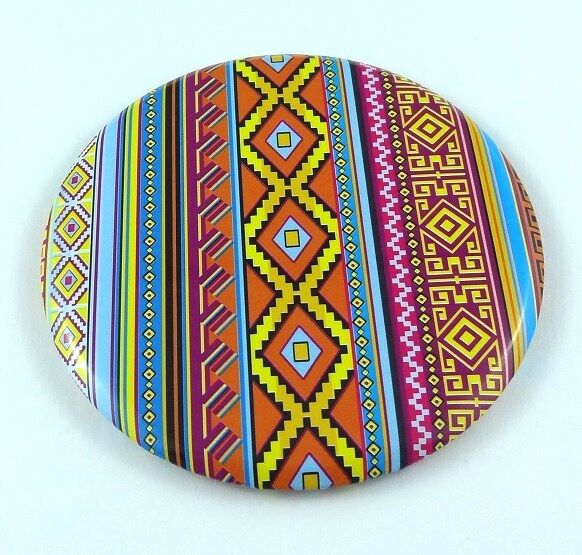Cosmetic Mirror Makeup Compact Lightweight Highly Portable Round Aztec Design AU
