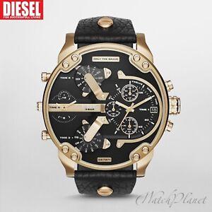 DIESEL-Original-DZ7371-Men-039-s-Gold-Black-Dial-New-Watch-w-Black-Leather-Strap