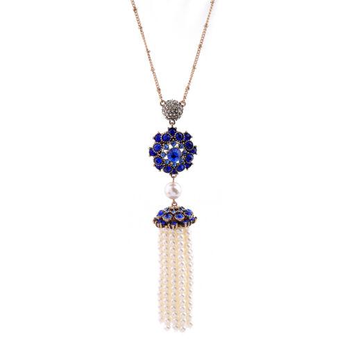 Cristal Bleu Simulated Pearls Tassel Pendentif Femmes Collier Long xl01583b-2
