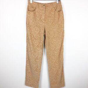 St-John-Sport-Womens-Tan-Paisley-Corduroy-Straight-Leg-Pants-Size-8