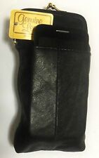 Black Leather Cigarette Case w/Cellphone Pouch-Fits KINGS/100s *