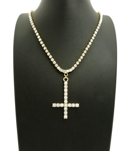 "Iced Out Hip Hop Lil Uzi Vert/'s Cross Pendant /& 18/"" 1 Row Tennis Chain Necklace"