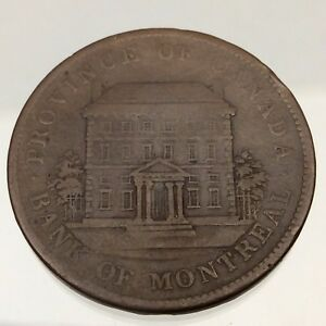 1842-Canada-Bank-of-Montreal-One-1-Penny-Copper-Circulated-Token-Coin-B405