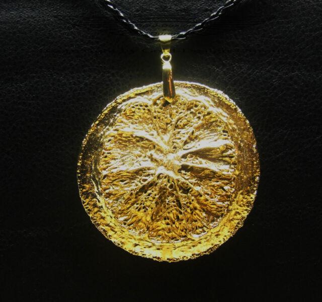Kettenanhänger, echte Zitronenscheibe, 24 Karat (999er) veredelt, Gold,neu